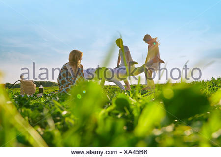 Group of young adult friends having pretend wheelbarrow race in field - Stock Photo