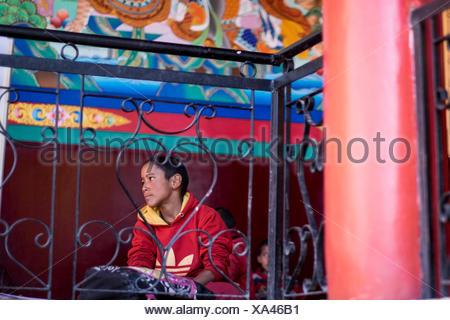 Matho Monastery, Indus Valley, Ladakh, India, Asia. Monk in the monastery school. - Stock Photo