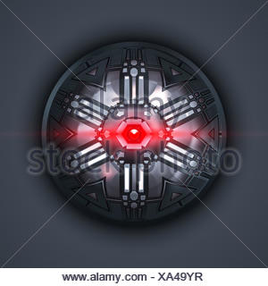 a robot eye with red light beam - Stock Photo