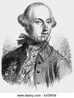 Joseph II, 13.3.1741 - 20.2.1790, Holy Roman Emperor 18.8.1765 - 20.2.1790, portrait, wood engraving, 19th century, , Additional-Rights-Clearances-NA - Stock Photo