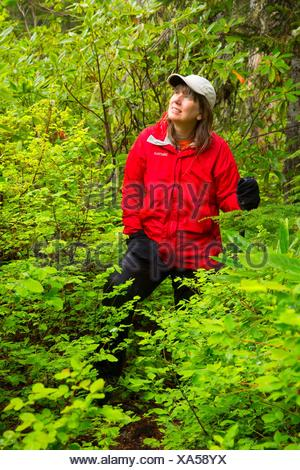 Hiker on Daly Lake Trail, Willamette National Forest, Oregon. - Stock Photo