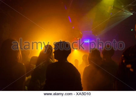 Nightclub scene with people dancing, disco ball, lighting equipment - Stock Photo