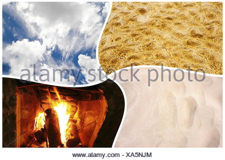 The four elements: water, fire, earth and air in one collage. - Stock Photo