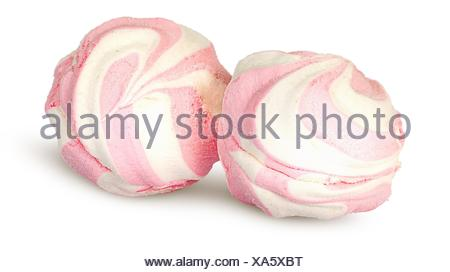 Two white and pink marshmallows each other isolated on white background. - Stock Photo