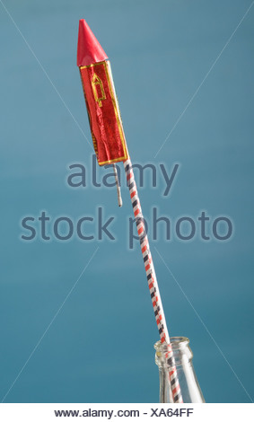 Close-up of a rocket in a bottle - Stock Photo