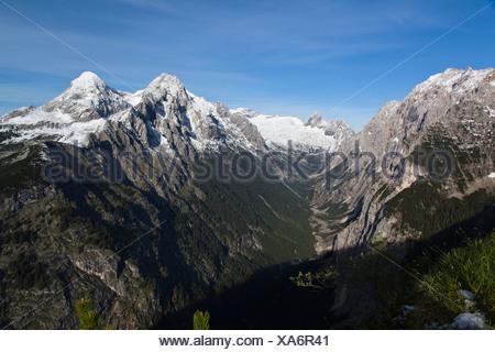 View from Schachen towards Reintal Valley and Zugspitzplatt Plateau, Hochblassen and Alpspitze Mountains, Wetterstein Range - Stock Photo