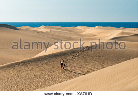 Sand dunes of Maspalomas, Gran Canaria, Canary Islands, Spain, Europe - Stock Photo