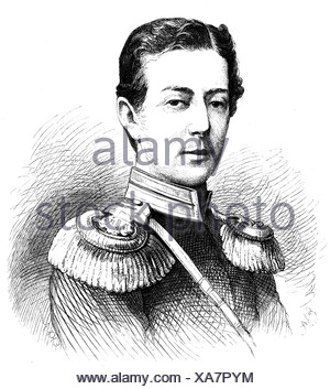 Nicholas Alexandrovich, 20.9.1843 - 24.4.1865, Tsarevich of Russia,  portrait, wood engraving by Ernst Hartmann, 1865,  , Additional-Rights-Clearances-NA - Stock Photo