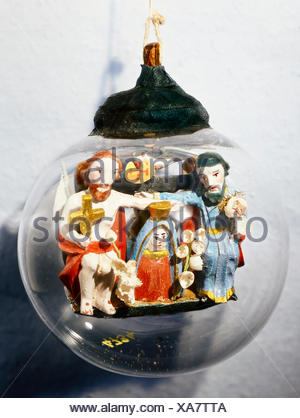 fine arts, folk art, impossible bottle with Coronation of the Virgin, glass, Southern Germany, 19th century, Werdenfels museum, Garmisch-Partenkirchen, Artist's Copyright has not to be cleared - Stock Photo
