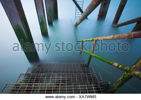Lifeboat Pier at Calshot, Hampshire, UK - Stock Photo