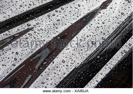 Drops of water on car bodywork, Stuttgart, Baden-Wuerttemberg, Southern Germany, Europe - Stock Photo
