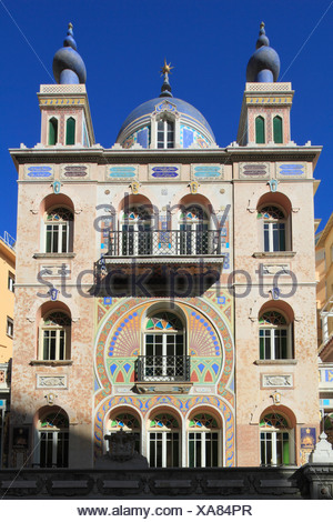 Historic villa from the Belle Epoque in the oriental style on the Boulevard des Jardins Exotiques, Principality of Monaco - Stock Photo