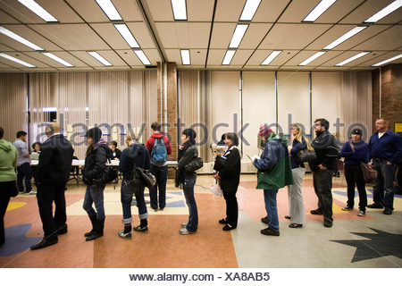 Voters wait to cast their ballots on Election Day in Seattle WA - Stock Photo