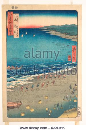 Yasashi Beach, known as Kujukuri, Kazusa Province, from the series Views of Famous Places in the Sixty-Odd Provinces. Artist: Utagawa Hiroshige - Stock Photo