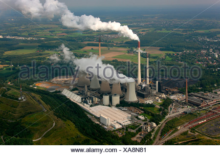 Aerial photograph, Kraftwerk Scholven, power plant with five cooling towers only, EON VEBA Kraftwerke Ruhr AG, air pollution, e - Stock Photo
