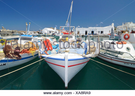 Fishing boats in the port of Naoussa, Paros, Cyclades, Griechenland, Europa - Stock Photo