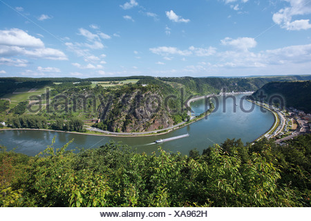 The course of the Rhine in front of Loreley rock, Rhineland-Palatinate, Germany, Europe - Stock Photo