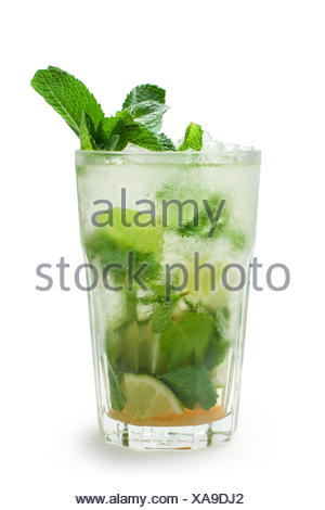 Mojito, mixed drink with brown sugar, rum, mint, lime juice and ...