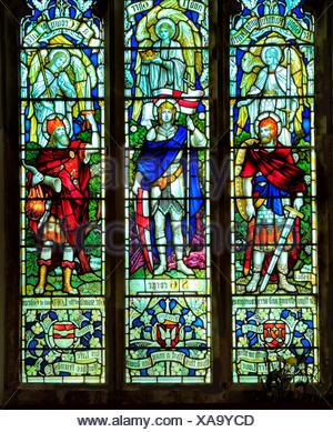 Joshua, St. George, Gideon, stained glass window, All Saints church, Warham, Norfolk, England, UK - Stock Photo