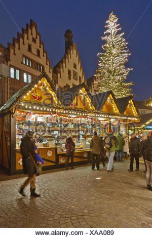 Frankfurt am Main, Hessen :  Weihnachtsmarkt, Römer - Stock Photo