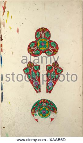 Design for a rose window. Artist: Louis Comfort Tiffany (American, New York 1848-1933 New York); Maker: Possibly Tiffany Glass Company (1885-92); - Stock Photo