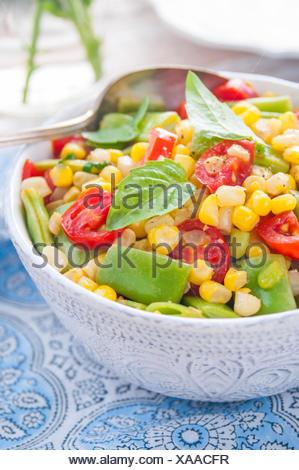 A Close Up of a Bowl of Vegan Succotash - Stock Photo