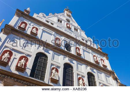 Germany, Bavaria, Munich, Neuhauser Strasse, St Michael's Church - Stock Photo