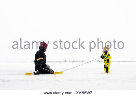 Son pulling father on sledge (2-3 years) - Stock Photo