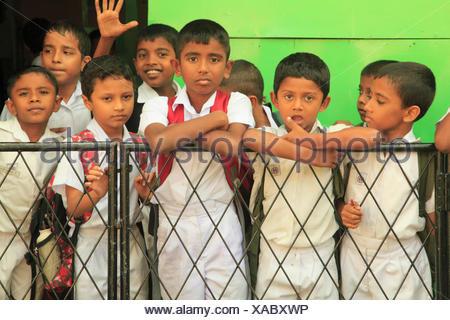 Sri Lanka, Galle, schoolboys, - Stock Photo
