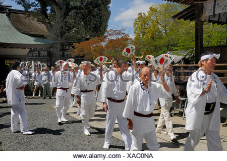 Handles of the shrines being carried accompanied by waving fans, Matsuri Shrine Festival of the Matsuo Taisha Shrine, Shinto, K - Stock Photo