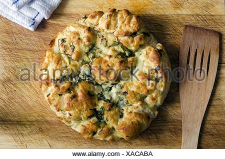 Italian Provolone, Mozzarella And Pecorino Bread. - Stock Photo