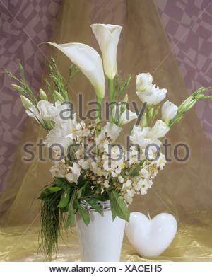 bouquet with callas , roses and eustoma - Stock Photo