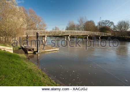 Footbridge over part of the River Thames at Sandford, near Oxford, Oxfordshire, Uk - Stock Photo