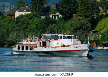 Tour ship MS-Thurgau on the Rhine River near Schaffhausen, Switzerland, Europe - Stock Photo