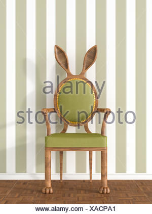 Vintage armchair with rabbit ears in front of striped wallpaper, 3D Rendering - Stock Photo