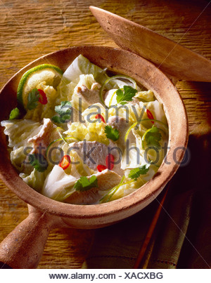 Chinese cabbage and chicken soup - Stock Photo