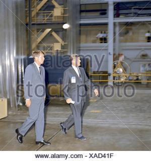 President Kennedy Tours Marshall Space Flight Center with Wernher von Braun - Stock Photo
