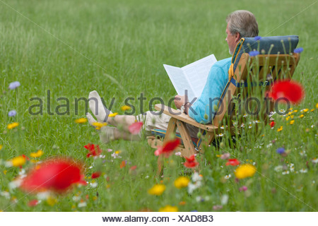 Elderly man readding in a garden chair on a flower meadow, Lower Saxony, Germany - Stock Photo