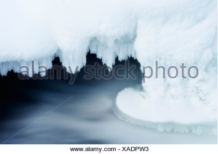 Ice and flowing water - Stock Photo
