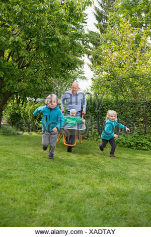 Father in garden pushing kids in wheelbarrow - Stock Photo