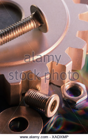 Nuts bolts gear conceptual industry still life - Stock Photo