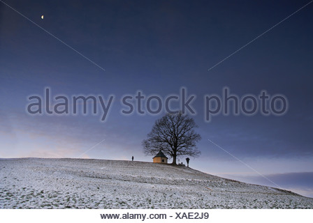Chapel at dusk in winter in Toerwang, Samerberg, Chiemgau, Upper Bavaria, Bavaria, Germany - Stock Photo