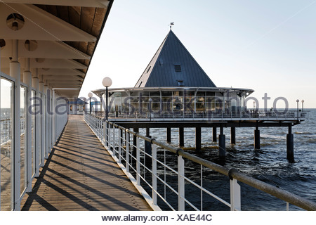 Heringsdorf Pier, Usedom Island, Baltic Sea, Mecklenburg-Western Pomerania, Germany, Europe - Stock Photo