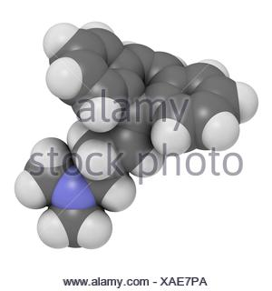 Cyclobenzaprine muscle spasm drug molecule. Atoms are represented as spheres with c venti al colour coding: hydrogen (white) - Stock Photo