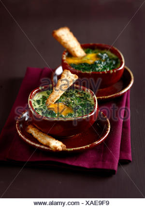 Cream of spinach soup with an egg - Stock Photo