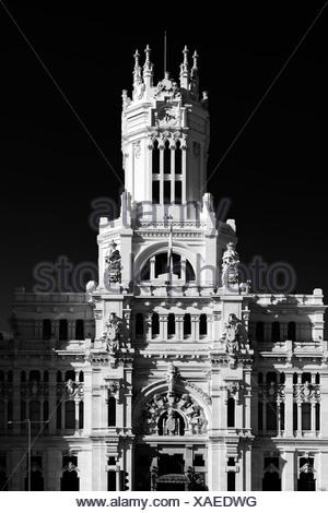 Palacio Nuestra Señora de Correos palace, also known as Palacio de Comunicaciones palace, post office, Madrid, Spain, Europe - Stock Photo