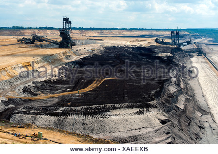 Two bucket excavators and a coal seam in the open pit in Garzweiler, North Rhine-Westphalia, Germany, Europe - Stock Photo