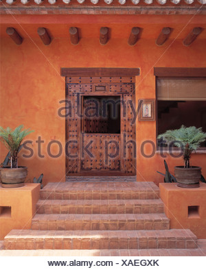 Plants in pots on either side of tiled steps to terracotta painted Spanish villa with old studded, rustic wooden door - Stock Photo
