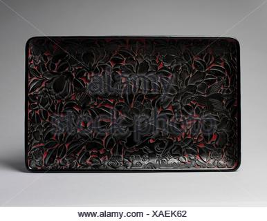 Tray with peonies and birds. Period: Ming dynasty (1368-1644); Date: 16th century; Culture: China; Medium: Carved black lacquer; Dimensions: W. 9 ½ - Stock Photo