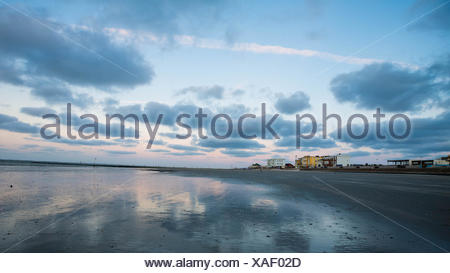 Evening mood on a beach on Norderney Island, Germany - Stock Photo